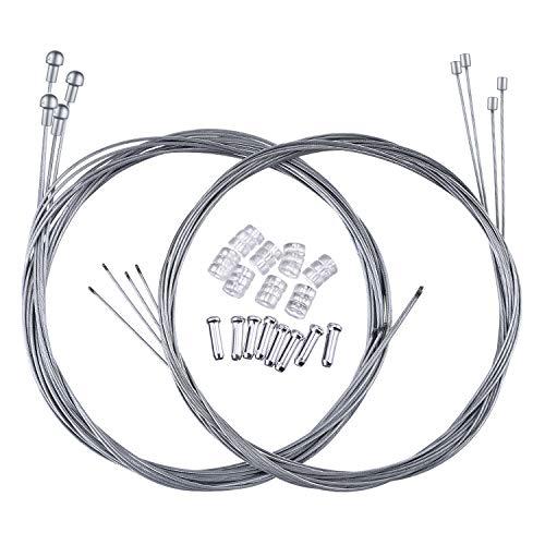 Hotop Cable de Freno de Bicicleta de Carretera Set de Alambre Cable de Engranaje y Tapas (2 Conjuntos de Cable de Freno de Bicicleta de Carretera Estilo B)