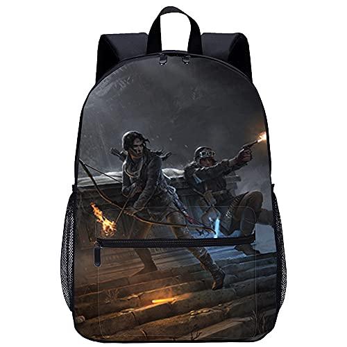 Rise of the Tomb Raider 3D gedruckter Rucksack Lässiger Rucksack Schultasche Geschenke für Kinder und Jugendliche 45x30x15cm Teen Rucksack