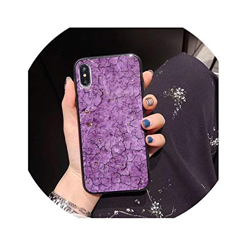 Luxury Gold Foil Crack Marble Phone Case for iPhone X XS Max XR Soft TPU Cover for iPhone 7 8 6 6s Plus Glitter Case Coque 7Plus,Purple,for iPhone 7