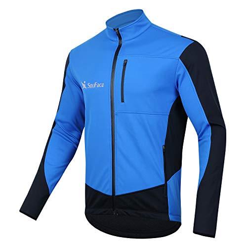 WINSEN Men's Waterproof Cycling Jackets, Warm UP Cycling Jersey Softshell Thermal Bike Tops Blue XXXL