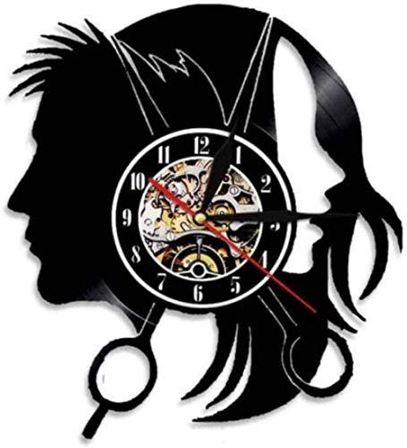 ZYBBYW Reloj de Vinilo de diseño Moderno, Reloj de salón de Belleza, Reloj Retro 3D, Reloj de Regalo para peluquería, Reloj-None_Led_Light