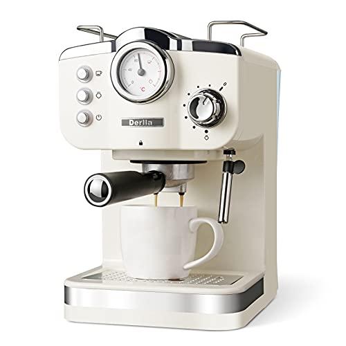 Derlla Cafetera retro, cafetera de espresso, 20 bares, cafetera espresso, capuchino, latte macchiato, rejilla antigoteo extraíble de acero inoxidable, bandeja antigoteo apta para lavavajillas.