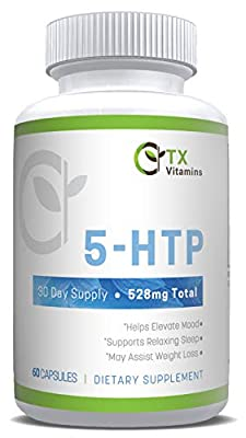 TX Vitamins 5-HTP (5 Hydroxytryptophan) with Calcium for Mood, Stress, Sleep, Boosts Serotonin, High Purity 5HTP Extra Strength Supplement, Non-GMO, Gluten Free
