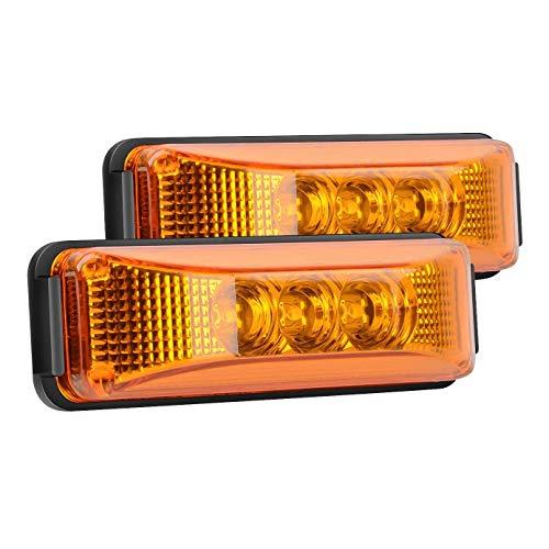 ADDFOO 2 Uds, 24 V, 3,9 Pulgadas, 3 LED, Remolque de CamióN, Luz áMbar, Luces Delanteras Traseras LED Laterales, Luces Indicadoras de Espacio, LáMpara Impermeable