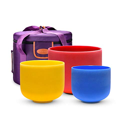 TOPFUND 7-11 inch Chakra Tuned Set of 3 Color Crystal Singing Bowls with Heavy Duty Carrying Case (7G 9E 11C)