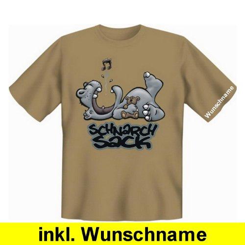 Stylishes und trendiges Fun T-Shirt: Schnarchsack (mit individuellem Wunschnamen) (Farbe: Sand, Größe: XXL)