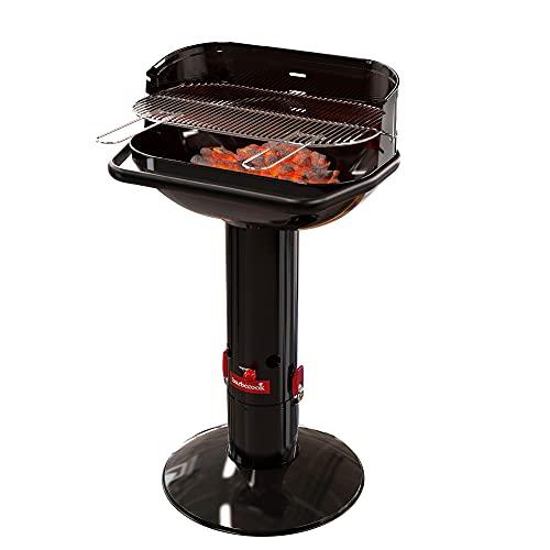 Barbecook Holzkohlegrill Säulengrill Stand-Grill eckig 3-Fach höhenverstellbar mit Quick-Stop, schwarz, 62x35x99,5 cm