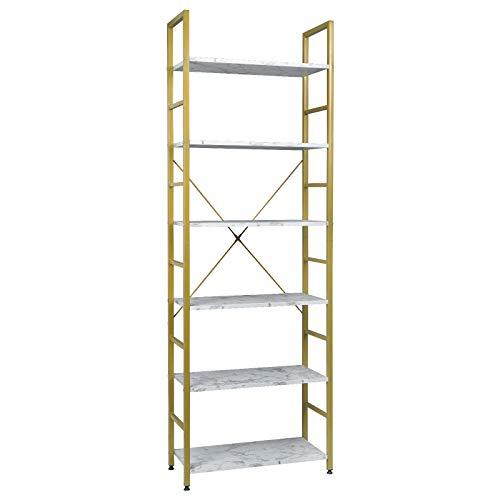 EUGAD 0021ZWJ Standregal Bücherregal Metallregal Leiterregal Stufenregal Multifunktionale Regal Industrie Design MDF Metall 60x28x180cm, Golden+Weißer Marmor
