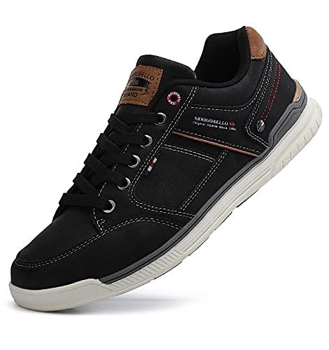 TARELO Zapatos Hombre Vestir Casual Zapatillas Deportivas Running Sneaker Respirable Gimnasia Al Aire Libre Tamaño 41-46(Negro, Numeric_43)