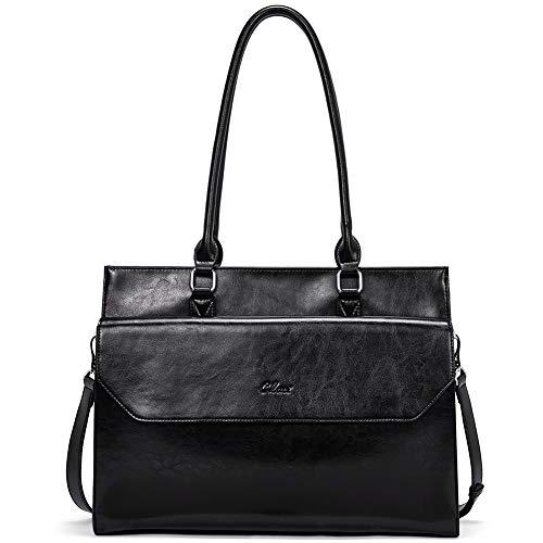 Oil Wax Leather Briefcase for Women Large Laptop Bag fit 15.6 Inch Vintage Ladies Business Shoulder Bag Black