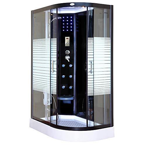 Home Deluxe - Komplettdusche - Duschtempel Black Pearl mit Regendusche - Maße: 120 x 80 cm - Ausführung: rechts | Fertigdusche, Dusche, Duschkabine Komplett