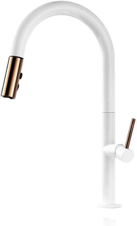 Yee ziehen Küchenarmatur, RoséGold und weie Waschbecken Mischbatterie, 360 Grad-Umdrehung Küchen-Mischbatterien Küchenhahn,Weiß