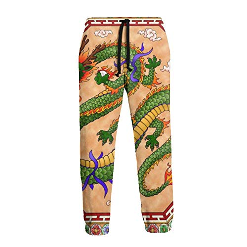 QUEMIN Pantalones de chándal de dragón Chino Tradicional Pantalones de chándal Deportivos Casuales Divertidos para Hombres S