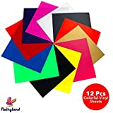 FLAIRYLAND HTV Heat Transfer Vinyl Bundle Set 12' x 10', HTV Sheets 12 Assorted Colors Iron On Vinyl for Cricut DIY T-Shirts Hats Clothing for Silhouette Cameo Press Machine Tool