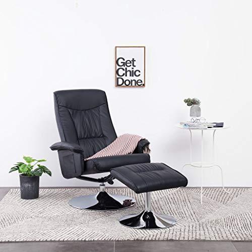 UnfadeMemory Relax Sillón Reclinable de Salon con Reposapiés,Sillon Oficina,Silla de Relax,Decoración de Hogar Habitación,Base de Metal Cromado,Cuero Sintético (Negro)