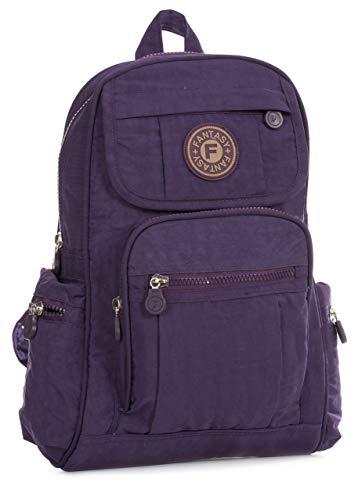 Big Handbag Shop Lightweight Fabric Mini Backpack Rucksack School Work Travel Gym College Bag (Purple)