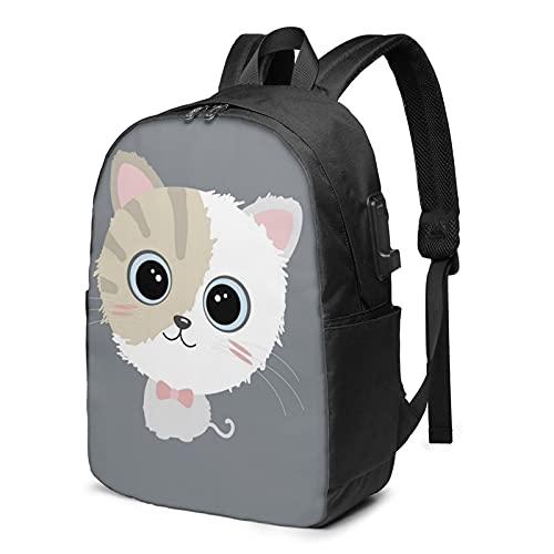 Zaino carino gatto zaino portatile da viaggio con porta di ricarica USB per uomini e donne 17 pollici, Come mostrato, Taglia unica,