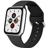 Senka Silicona Correa Compatible con Apple Watch 38mm 42mm 40mm 44mm, Pulseras de Repuesto Silicona Suave Deportiva para iWatch Series 6 5 4 3 2 1,Hombre y Mujer(Negro,38mm/40mm S/M)