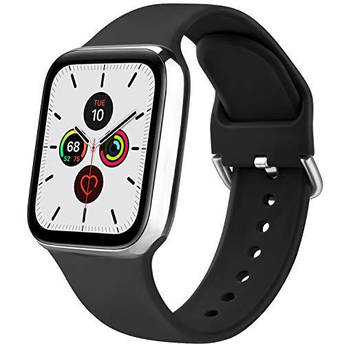 Senka Silicona Correa Compatible con Apple Watch 38mm 42mm 40mm 44mm, Pulseras de Repuesto Silicona Suave Deportiva para iWatch Series 6 5 4 3 2 1,Hombre y Mujer(Negro,42mm/44mm S/M)