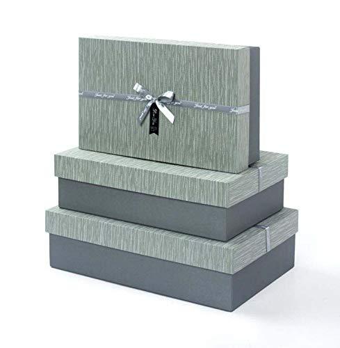 Idena 30254 - Geschenkboxen Grau, 3er Set, FSC-Mix, Geschenkkartonagen, Geschenkverpackung, Geschenkschachtel