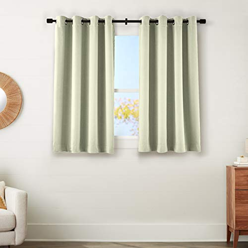 "AmazonBasics 99% Room Darkening Theatre Grade Heavyweight Window Panel with Grommets and Thermal Insulated, Noise Reducing Liner - 52"" x 63"", Celadon Green"