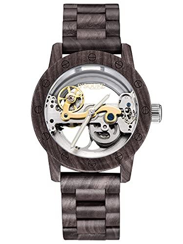 Alienwork Automatikuhr Armbanduhr Herren Schwarz Holz-Armband Silber Skelett Natur-Holz