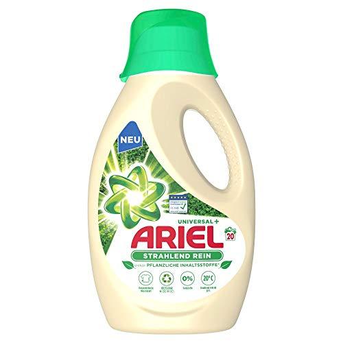 Ariel Waschmittel Flüssig, Flüssigwaschmittel Nachhaltig, Strahlend Rein, Pflanzenbasis, 20 Waschladungen (1.1 L)