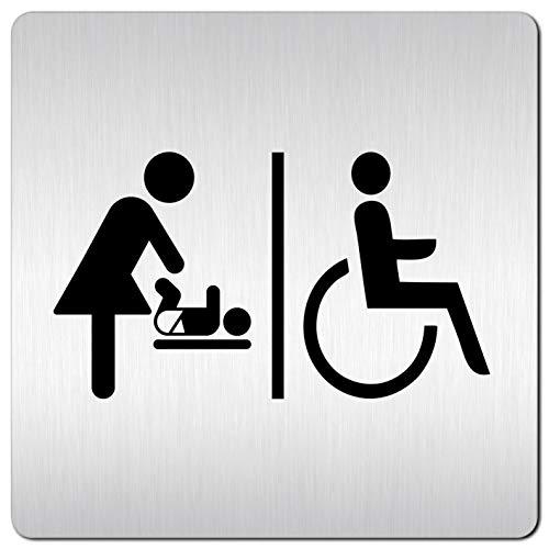 Kinekt3d Leitsysteme XXL Schild - Türschild • 125 x 125 mm • Rollstuhl Behinderten WC + Piktogramm Wickelraum • 100% Made in Germany