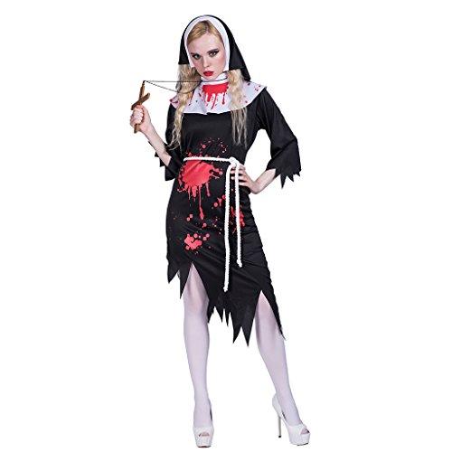 EraSpooky Damen Zombie Nonne Kostüm Cosplay Halloween Party Karneval Fastnacht Faschingskostüme für Erwachsene