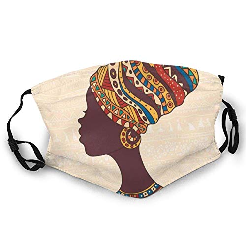 Gezicht Guard Mond Cover Afrikaanse Vrouw In Traditionele Etnische Jurk Portret Glamour Thema Grafische Ski Hoed Hals Gaiter Hoofddeksels