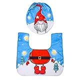 Garretlin 2 unids/set decoración de Navidad estera de inodoro muñeca de dibujos animados sin rostro muñeca baño piso esteras decoración del hogar - azul