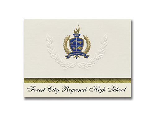 Signature Announcements Forest City Regional High School (Forest City, PA) Graduierung Ankündigung, Presidential Basic Pack 25 mit Gold & Blau Metallic Folie Siegel
