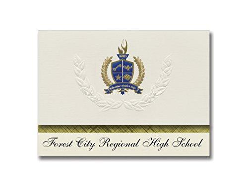 Signature Announcements Forest City Regional High School (Forest City, PA) Graduierung Ankündigung, Presidential Basic Pack 25 mit Gold & Blau Metallic Folie Siegel