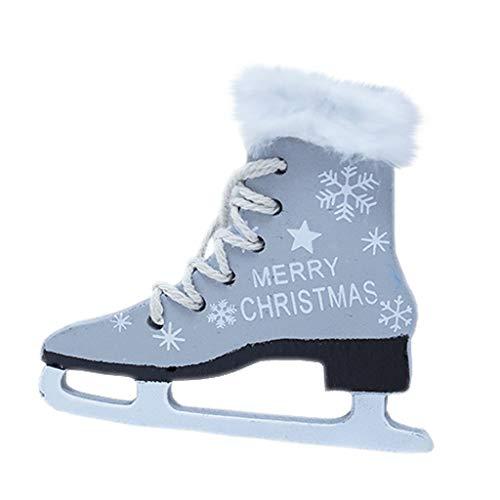 Yookstar 3 Stück Weihnachten Hölzern Schlittschuhe Schuhe mit Plüsch Hängende Verzierung Party Dekor Feiertagsdekoration Weihnachtsanhänger