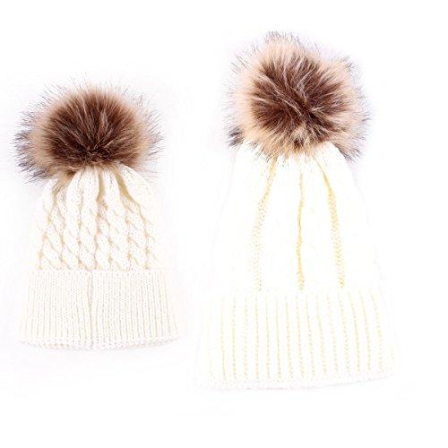 oenbopo 2PCS Parent-Child Hat Warmer, Mother & Baby Daughter/Son Winter Warm Knit Hat Family Crochet Beanie Ski Cap White,Normal