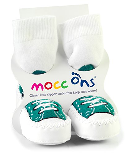 Mocc Ons Clever Little Slipper Socks That Keep Toes Warm! Sneakers 6 -12 Months Turq
