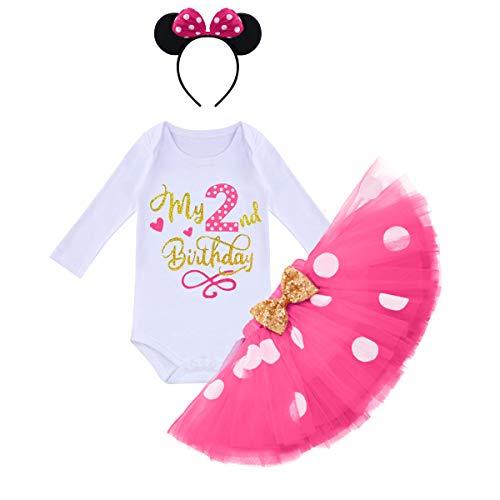 IMEKIS Baby Mädchen Mein 1./2. Geburtstag Outfit Prinzessin Minnie Polka Dot Kostüm Langarm Strampler + Tüllrock + Stirnband Foto Requisiten Weihnachten Karnevals Kostüm