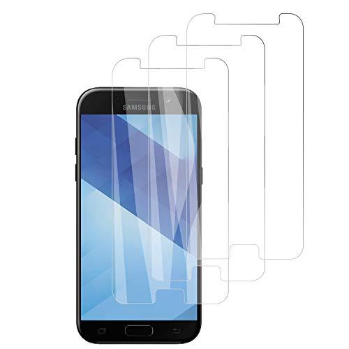 PUUDUU [3 Pièces Verre Trempé pour Samsung Galaxy A5 2017 Film Protecteur, Anti Rayures, Dureté 9H, sans Bulles - Transparent,Protection Écran pour Samsung Galaxy A5 2017