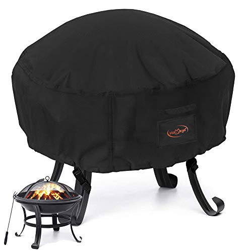 HOMEYA Fire Pit Cover Round Patio Fire Pit Cover Heavy Duty 600D Waterproof Weather Resistant Dustproof Anti UV Outdoor Table Cover for Firepit Fireplace with Drawstring - 33.5'x15.7'