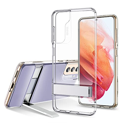 ESR Metal Kickstand Case Compatible with Samsung Galaxy S21 (6.2-Inch) (2021) [Reinforced Drop Protection] [Portrait and Landscape Stand], Clear