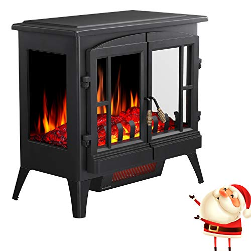 Joy Pebble Compact Electric Fireplace Heater, Freestanding Stove Heater with...