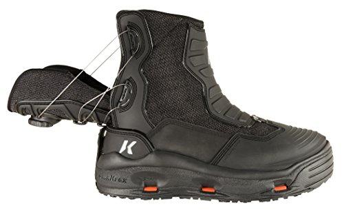 Korkers Schrägheck schwarz Größe 7Angeln Stiefel mit kling-on und kling-on besetzt, schwarz, 10