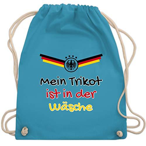 Shirtracer Fußball-Europameisterschaft 2020 - Mein Trikot ist in der Wäsche Deutschland - Unisize - Hellblau - rucksack fußball - WM110 - Turnbeutel und Stoffbeutel aus Baumwolle