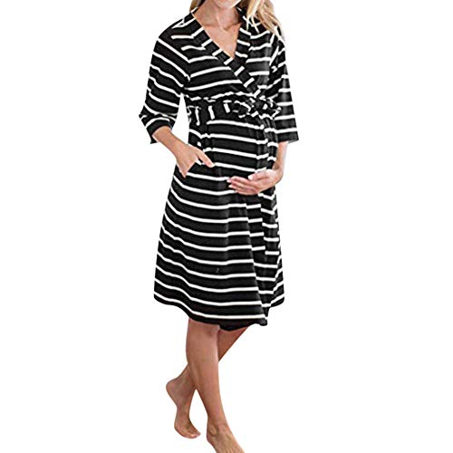 Tops Für Schwangere Schwangere Pyjama Frauen Mutterschaft 3/4 Ärmel Streifen Bandage Still Nachthemd Stillen Kleid-A_S