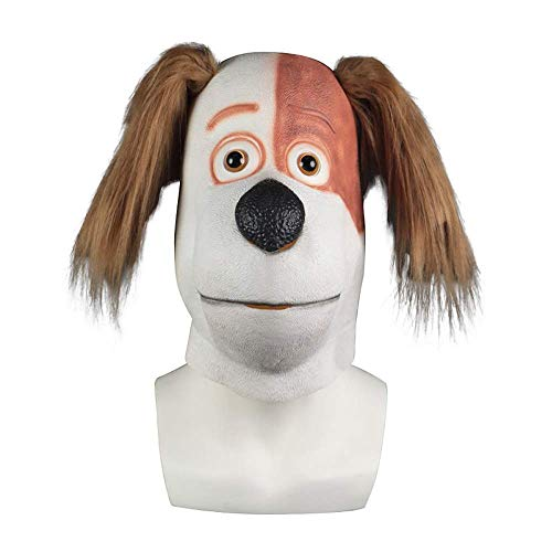 XINRUIBO Cabeza de Perro Gracioso Mscara, Natural Material Ltex, presionar la vlvula de Aire del odo vibracin, Halloween Costume Party Animal Juego de Roles. mscaras de Halloween