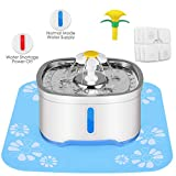 Cat Water Dispenser, Stainless Steel Water Fountain, Automatic Power-OFF Pump, Pet Fountain with 3 Carbon Filters, 1 Foam Filter 1 Mat, Water Level Window with LED Light 85 oz/2.5L
