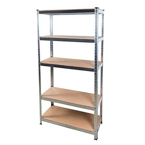 Schwerlastregal 180x90x40 cm steckbar aus Stahl für 875 kg mit 5 MDF Böden