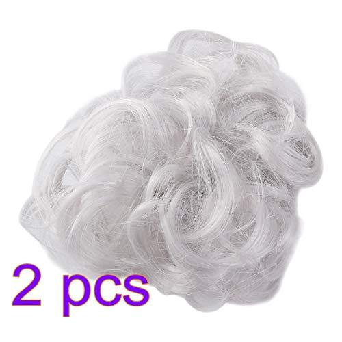 Lurrose désordre chignon morceau de cheveux épais updo synthétique cheveux bouclés chignon extension chignon cheveux chignon pour les femmes 2pcs (gris)