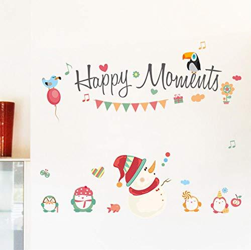 GVFTG Happy Moments Merry Christmas Snowman muurstickers, raamdecoratie, decoratie voor feestjes, Nieuwjaar, huisdecoratie, wandafbeelding, 90 x 102 cm