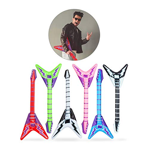 Relaxdays- Guitarra Hinchable Eléctrica, Multicolor, 95 cm (10024258)